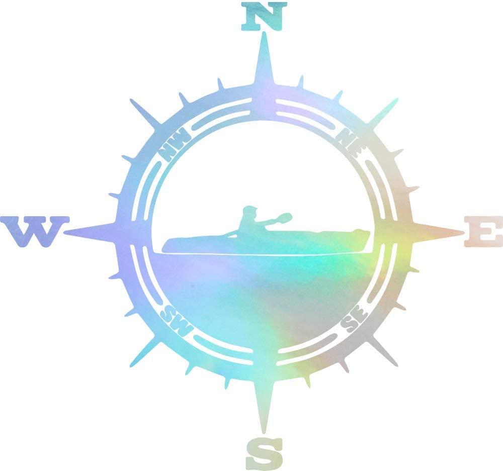 NBFU DECALS Kayak Compass Mountain (Hologram) (Set of 2) Premium Waterproof Vinyl Decal Stickers for Laptop Phone Accessory Helmet Car Window Bumper Mug Tuber Cup Door Wall Decoration