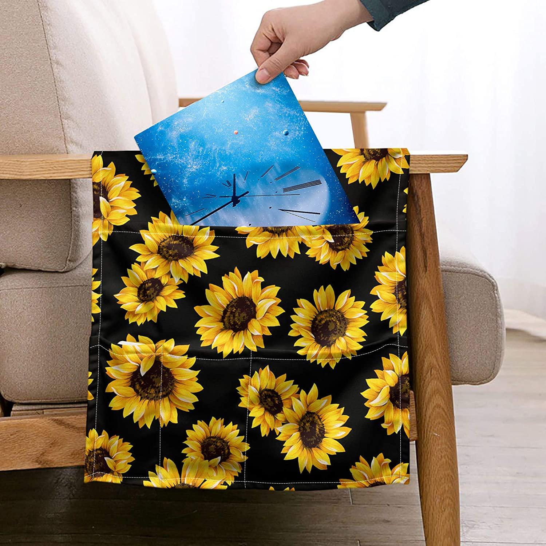 NETILGEN Sunflower Armrest Hanging Storage Bag for Sofa, Bedsides Storage Organizer with 5 Large Capacity Pocket, Remote Control Bag Soft Polyester Washable Couch Storage Bags