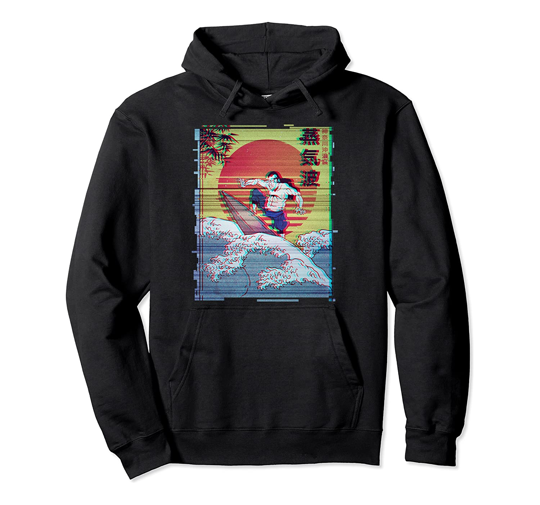 Japan Samurai Surfer Vaporwave Aesthetic Art Pullover Hoodie