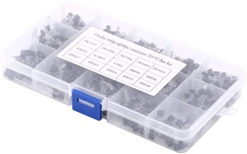 Capacitor Assortment Box Kit Mixed Transistors TO-92 Assortment Transistor Box Kit 15 Types 600Pcs