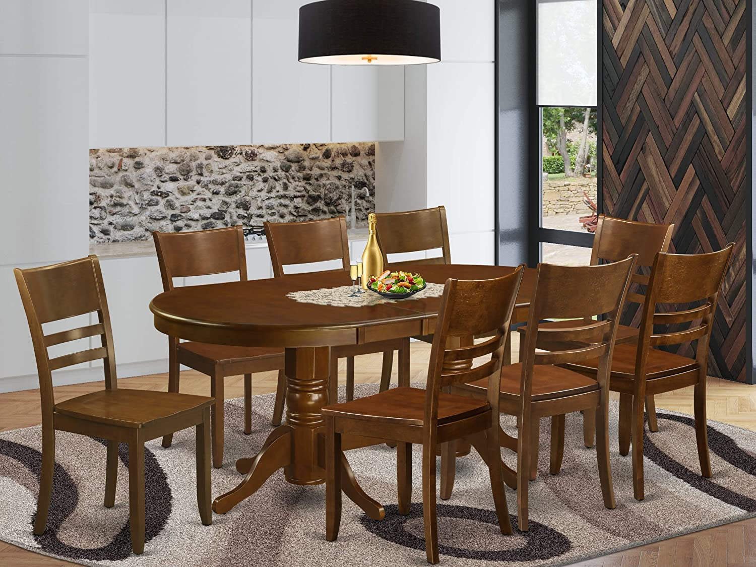 9 Pc set Vancouver Kitchen Table with a 17in Leaf and 8 Solidwood Seat Chairs in Espresso .