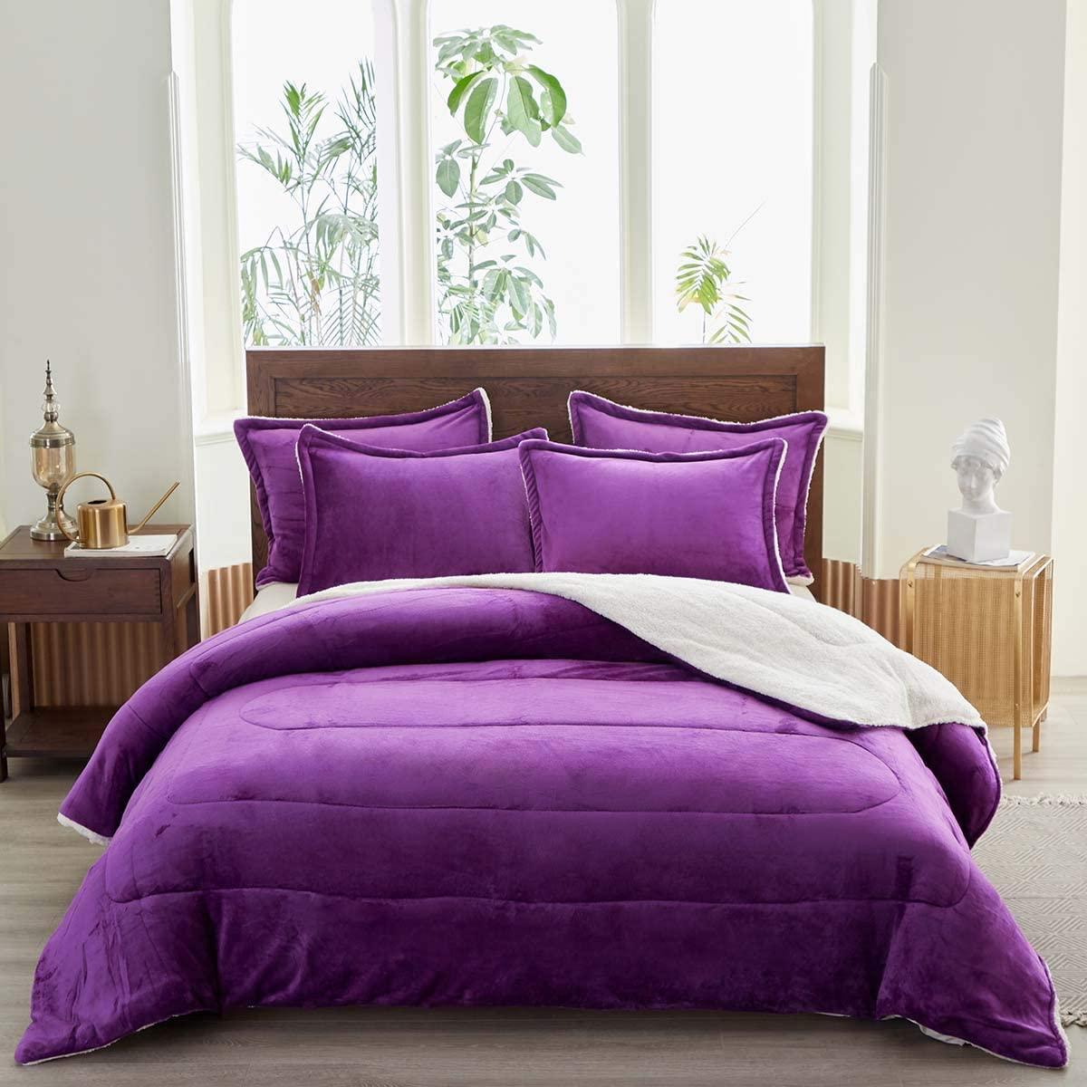 Uozzi Bedding 3-Piece Sherpa Flannel Micromink Comforter Set Ultra-Soft Winter Microfiber Fill Bedding Set Down Alternative Fleece Warm Weighted Duvet with 2 Pillowcase (Purple, King 102