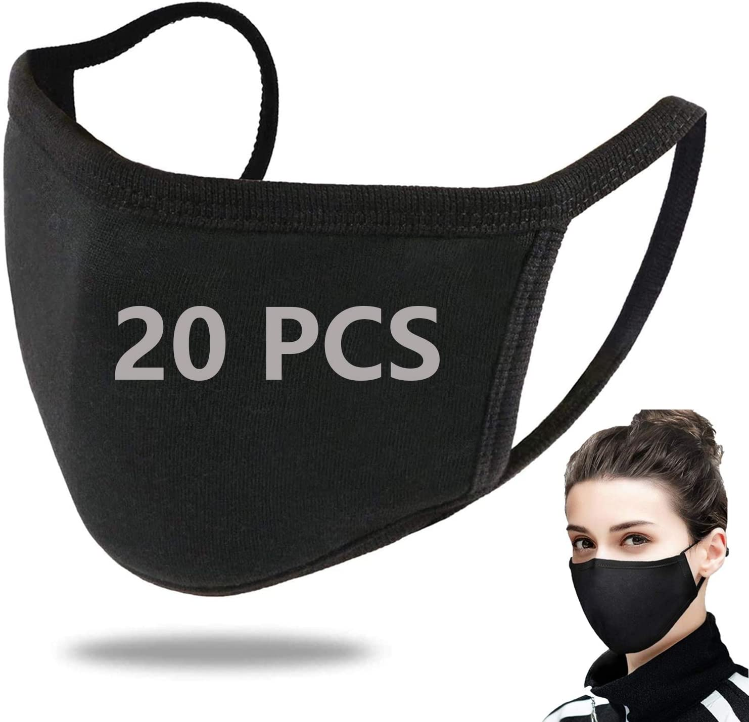 20 Pack Cotton Unisex Fashion Black Face Reusable, Soft Lightweight Comfy for Cycling Camping Travel for Kids Teens Men Women