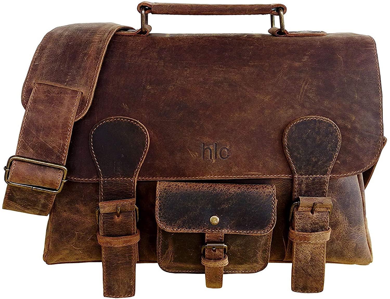 Leather Laptop Briefcase Messenger Large Laptop Satchel Men's BAG