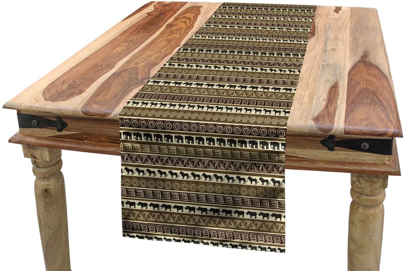 Ambesonne Safari Table Runner, Style Geometrical Pattern with Wild Animals in Horizontal Line Art, Dining Room Kitchen Rectangular Runner, 16