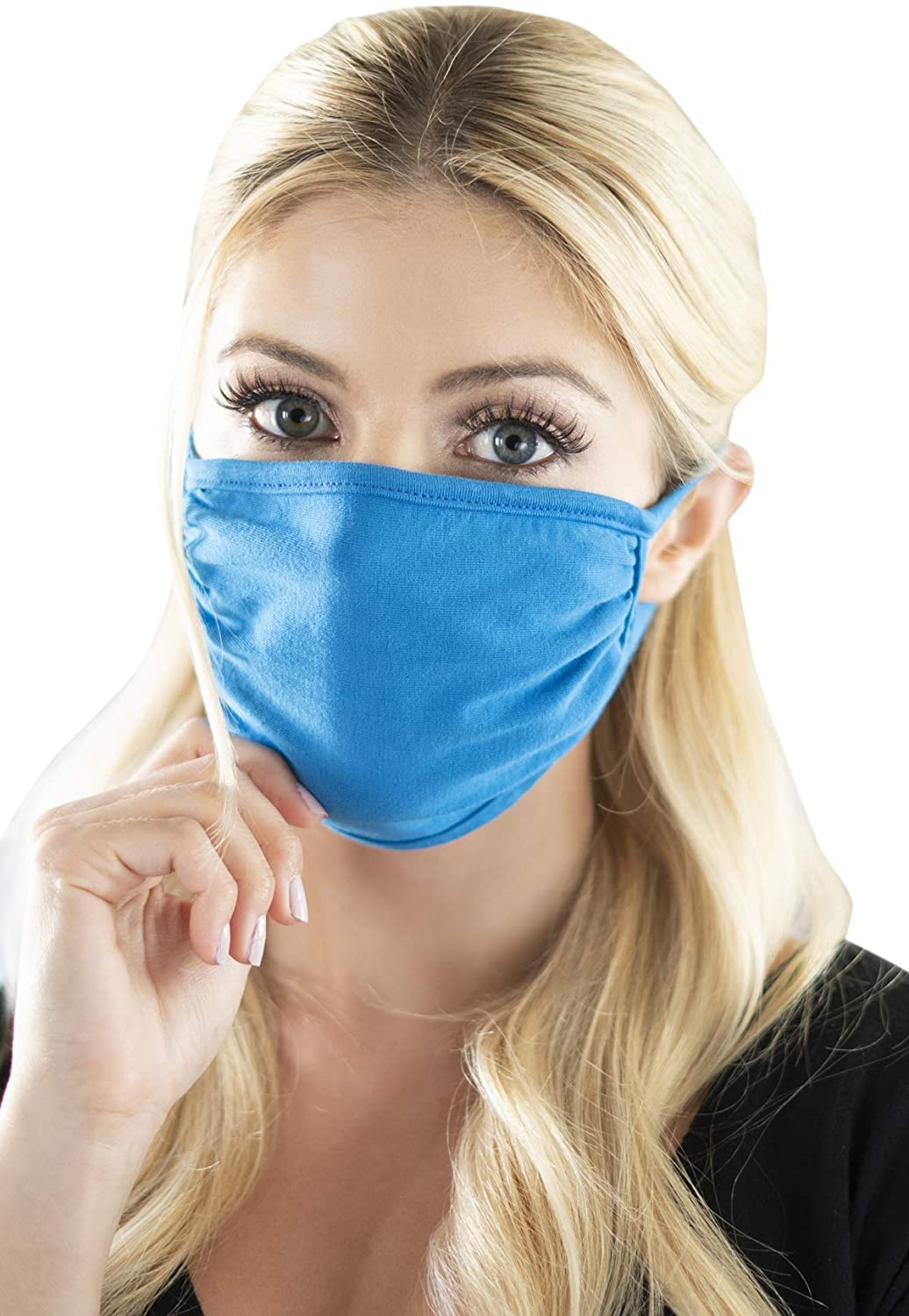 Reusable Fabric Face Mask Unisex Washable Covering - Cute Print Cloth Comfy Breathable Adjustable Outdoor Mouth Shield Protection Men Women (Round/Ear Loop - Solid Turquoise)