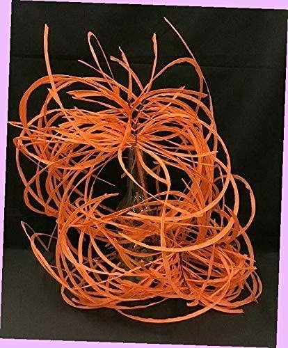 Artificial Wispy Spider Paper Grass Hanging Bush Set 2 Orange 28