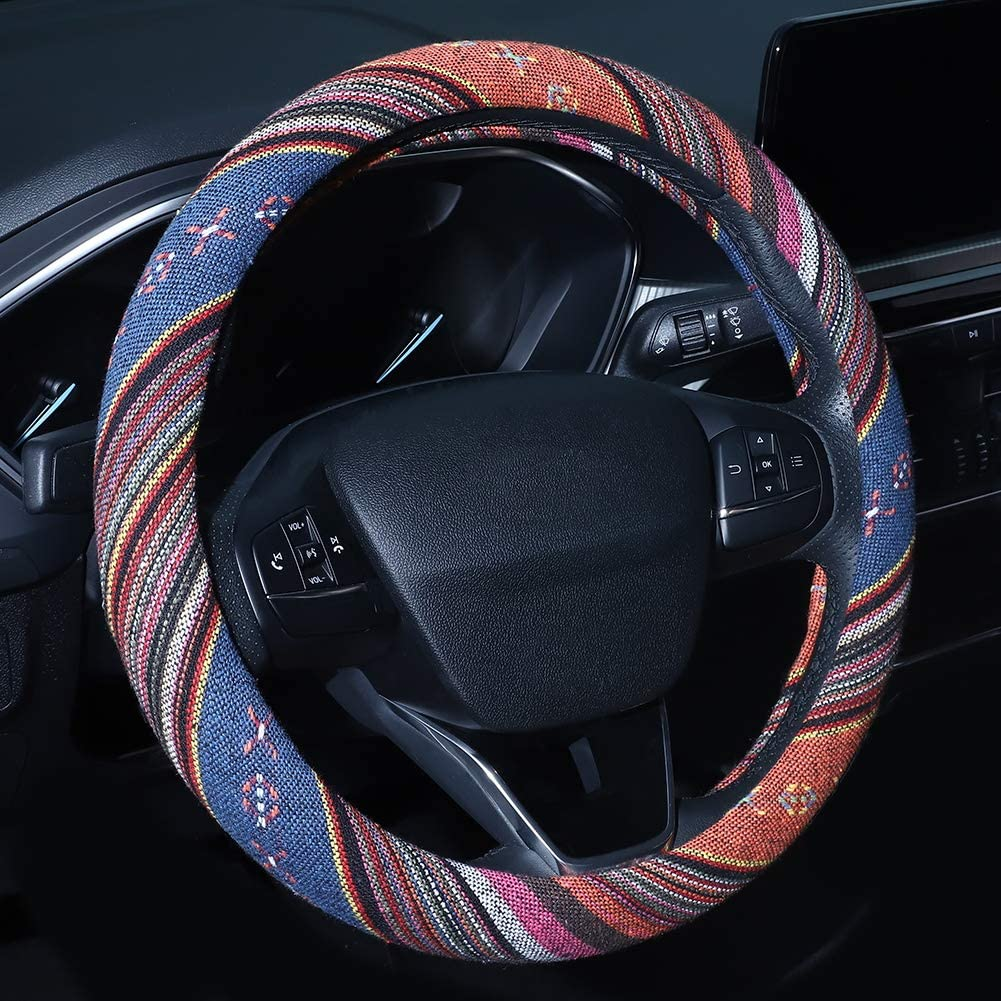 Boho Steering Wheel Cover, Accmor Bohemian Style Car Wheel Covers Protector, Coarse Flax Cloth, Ethnic Style, Universal 15 Inch Fit, Anti-Slip Sweat-Absorbent
