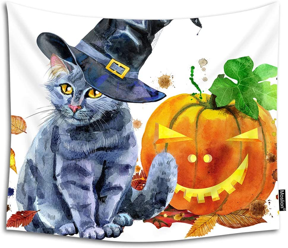 Moslion Halloween Cat Tapestry Magic Witch Hat Autumn Pumpkin Evil Eyes Cartoon Animal Leaf Wall Hanging Tapestry for Living Room Bedroom Dorm Home Decorative Polyester 60W x 51H