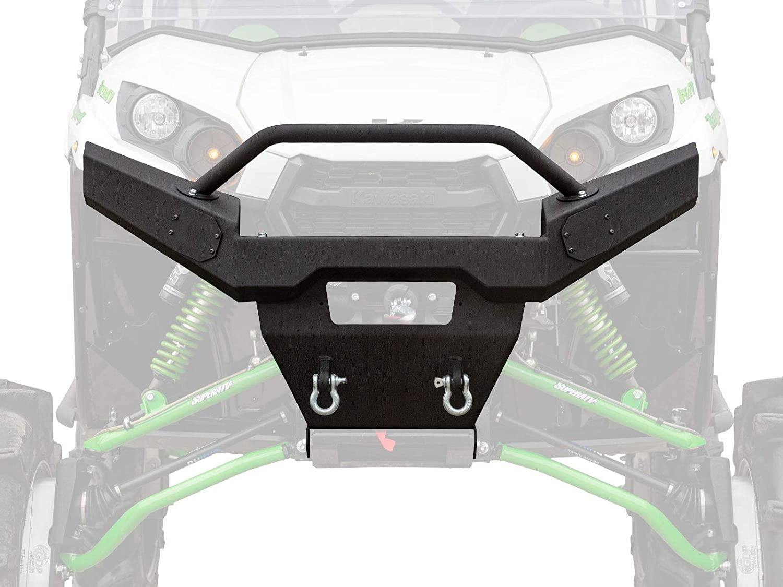 SuperATV Heavy Duty Sheet Metal Front Bumper for Kawasaki Teryx 4 750/4 800/800 - Winch Ready! - Black
