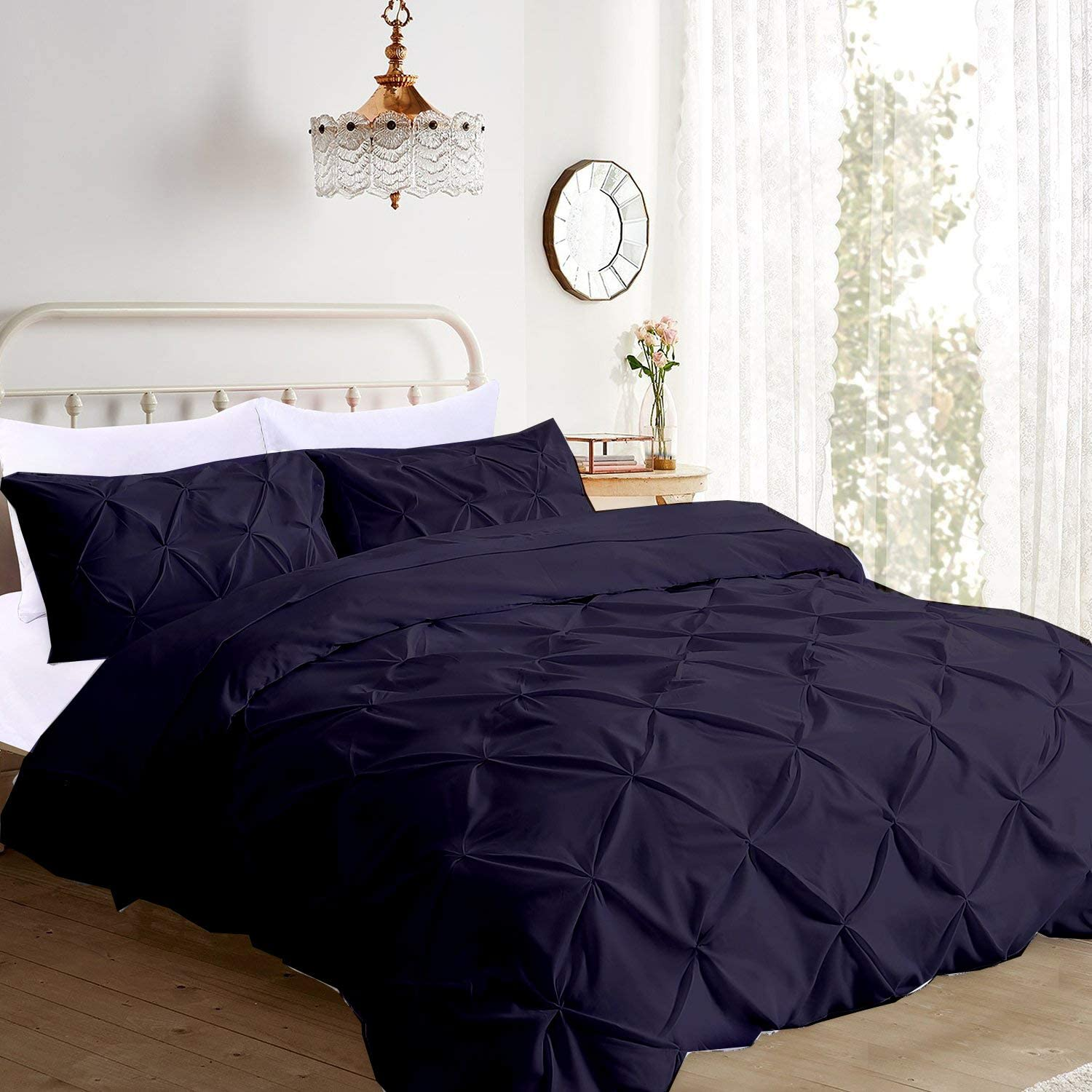 Pinch Pleated 3 Piece Duvet Cover Set 100% Egyptian Cotton 1000 Thread Count with Zipper & Corner Ties Rectangle Pattern Decorative Pintuck Pillow Shmas (92x102 King Size, Dark Blue)