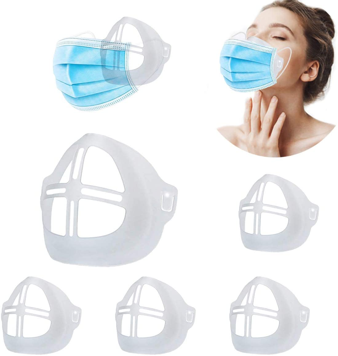 Reusable Adult 3D Silicone Mask Bracket Accessory, Printed Face Cover Mask Inner Support Frame Washable for Easy to Breathe & Talk Ideal Makeup Saver by Creating Breathable Space (5 Pcs A)