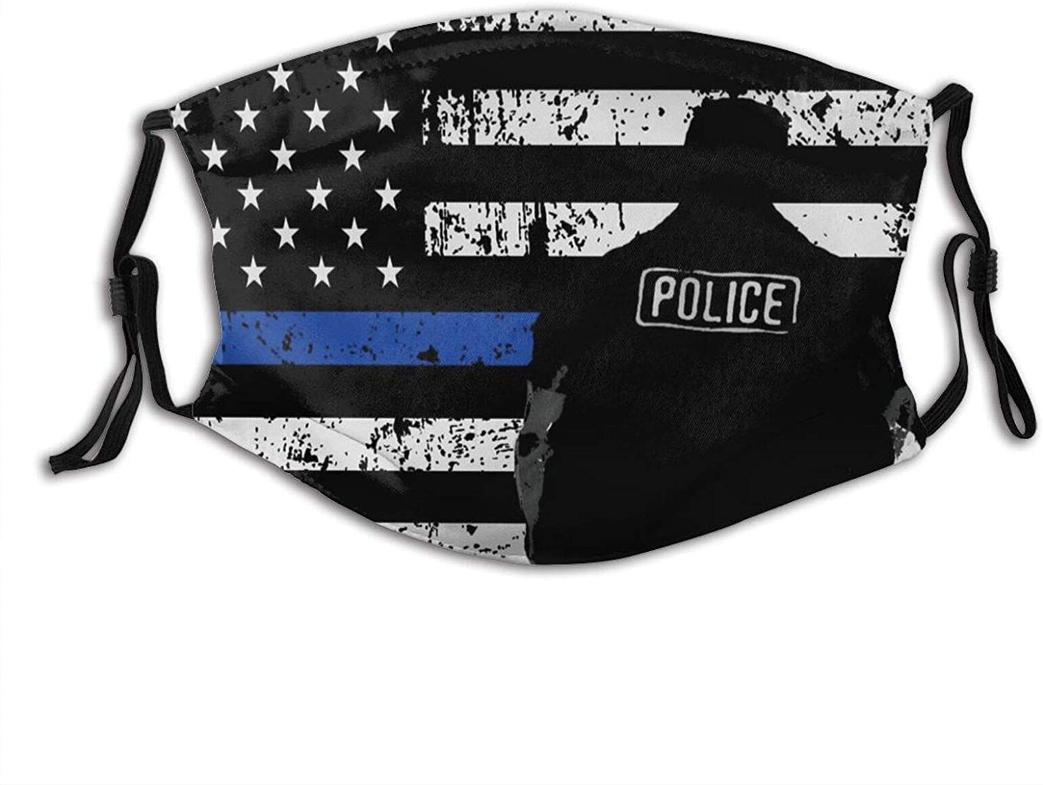 Thin-Blue-Line-Flag Face Mask Reusable Facial Balaclavas Fashion Design Uv Protection Face Protection With 2 Filters