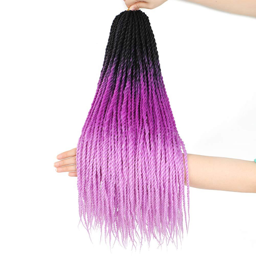 6Pack Senegalese Twist Crochet Hair 3 Tone Ombre Purple Box Braids Synthetic Hair Extensions 30Roots/Pack Small Havana Twist Crochet Hair 24inch(1B/Light Purple/Purple, 600g/Lot)