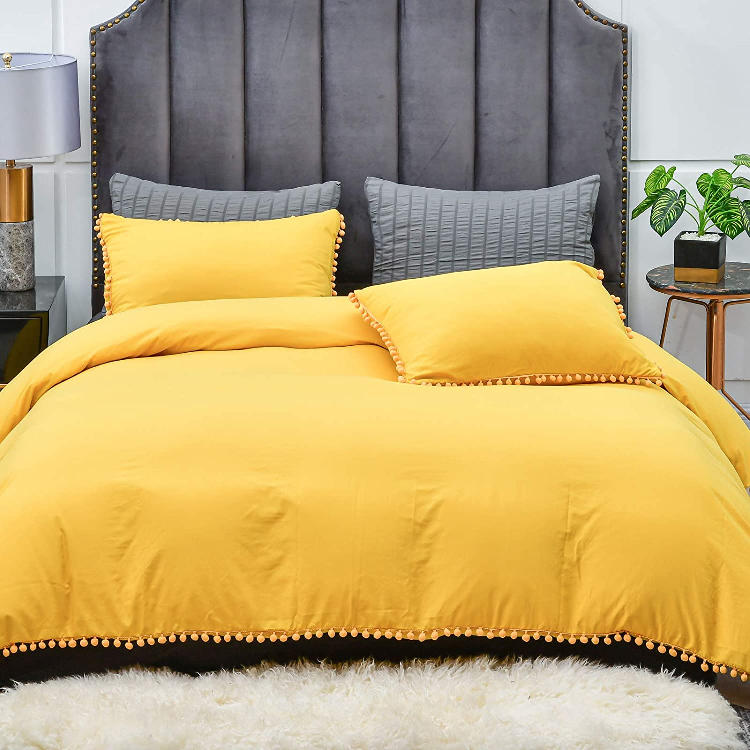 Yellow Duvet Cover Set, Pom Pom Fringe Design, Soft and Breathable Washed Microfiber Duvet Cover Set, 3 Pieces Bedding Duvet Cover with Zipper Closure & Corner Ties, 104x90, Yellow King