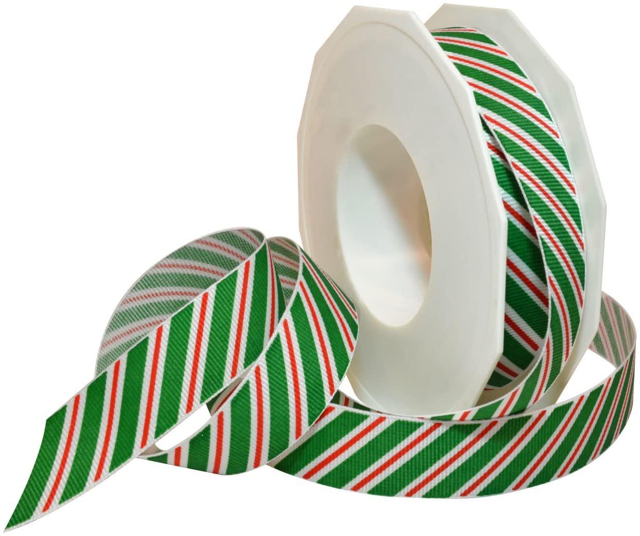 Morex Ribbon 80605/20-607 Candy Cane Stripes Grosgrain Ribbon, 7/8-Inch by 20-Yard, Emerald