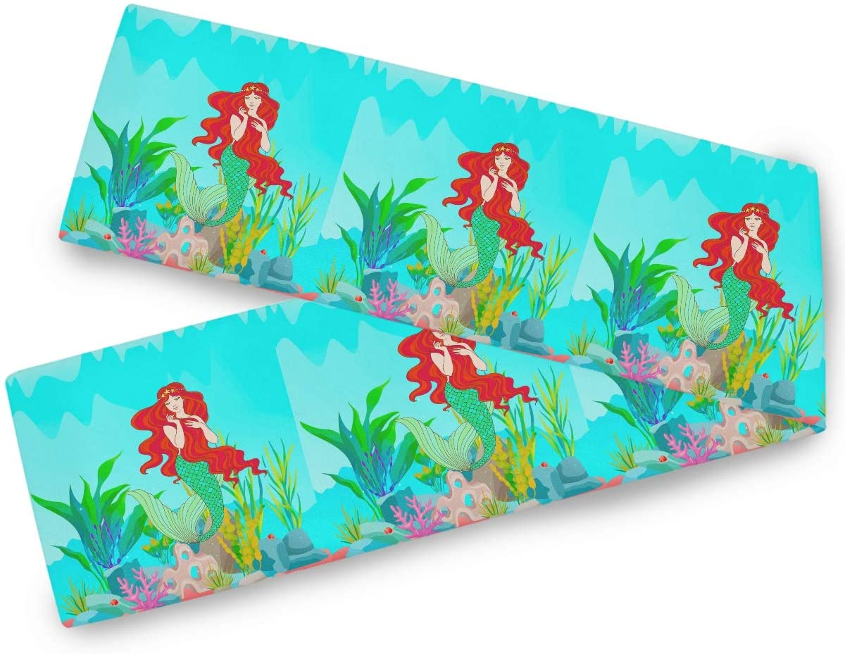 Oarencol Mermaid Ocean Summer Animal Sea Grass Table Runner 13x90 inch Double Sided, Long Table Runner Cover for Wedding Kitchen Party Holiday Dining Home Everyday