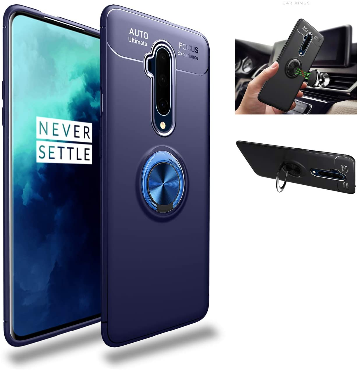 OnePlus 7T Pro Case,Silicone Shockproof Cover,zinc Alloy 360° Rotating Kickstand car Holder Ultra Thin Protection Scrub Soft case,for OnePlus 7T Pro (Blue/Blue)