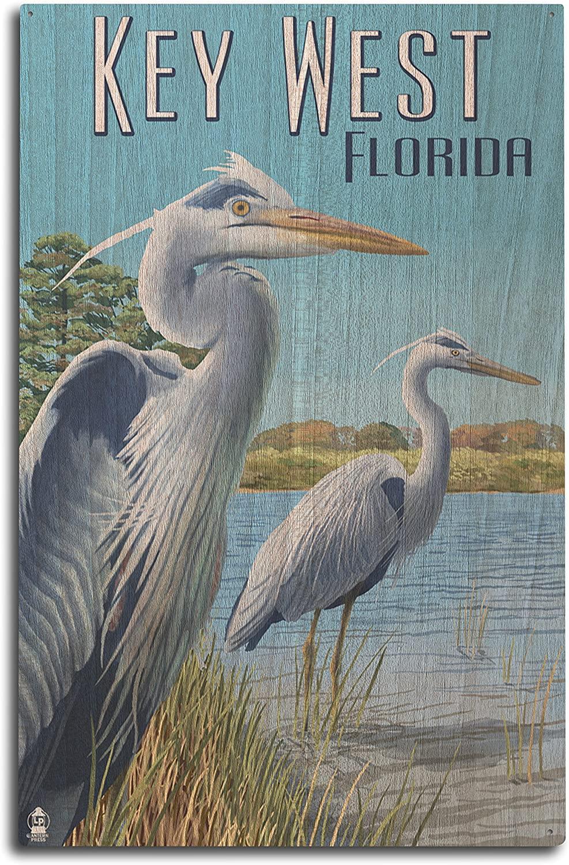 Lantern Press Key West, Florida - Blue Heron (10x15 Wood Wall Sign, Wall Decor Ready to Hang)