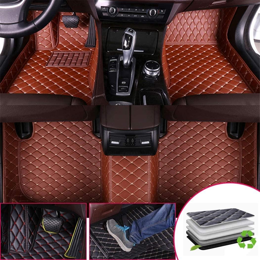 Custom Car Floor Mats for Infiniti ESQ 2014-2017 Full Surrounded Waterproof Anti-Slip All Weather Protection Leather Material Car mat Carpet Liners Brown