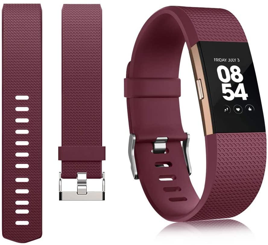 IEOVIEE Silicone Band Compatible with Fitbit Charge 2 Bands, Classic & Special Edition Soft Replacement Bands for Women Men Small Large (Large.Wine red)