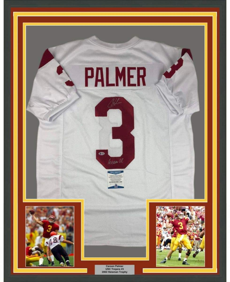 Framed Autographed/Signed Carson Palmer Heisman 02 33x42 USC Southen Cal White College Football Jersey Beckett BAS COA