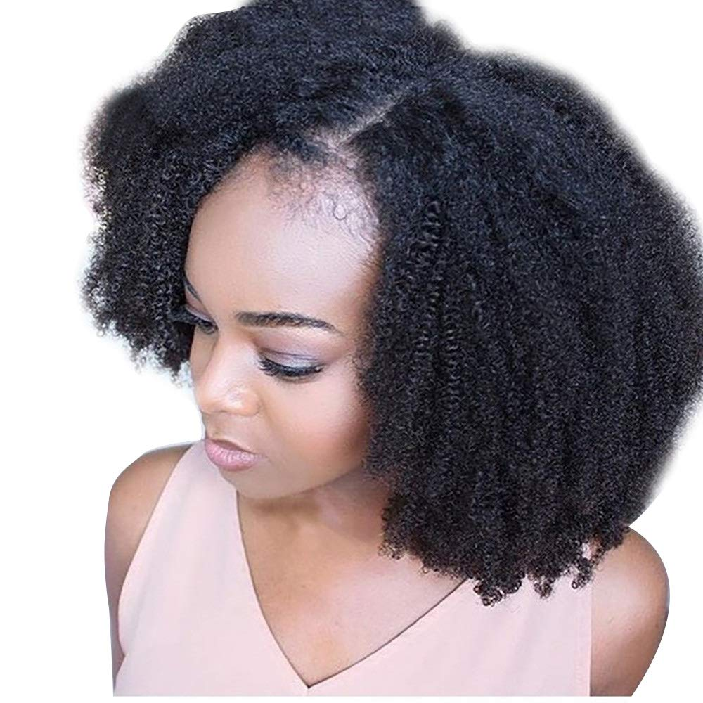 Inkach Afro Lace Front Curly Wig for Black Women Short Kinky Bob Wigs Heat Resistance Synthetic Fiber Full Hair Wigs African Female Wig (Black)