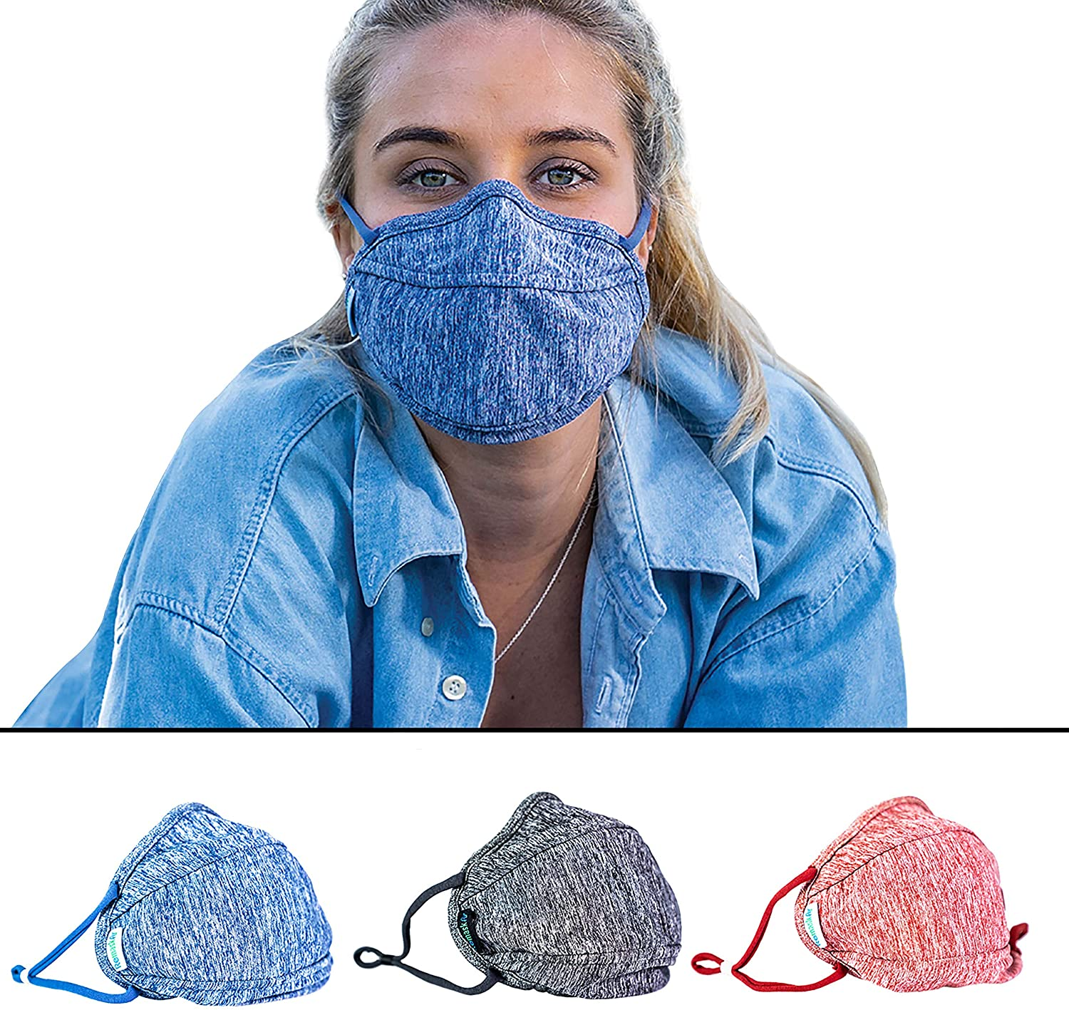 Unisex Washable Reusable Face Masks. Highest Quality material engineered for ease of breathing and clarity of voice (Pack of 3). WARM for winter and moisture repellent.