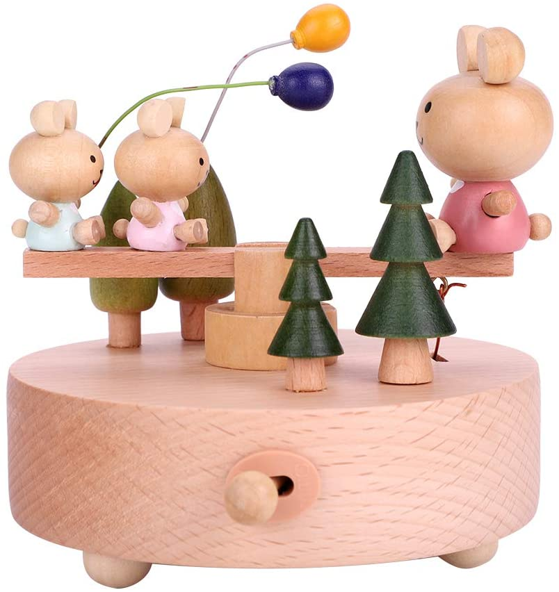 Liineparalle Music Box Beech Wooden Musical Boxes Valentine's Day Christmas Birthday Gift Wood Crafts for Child Kids Girl(#1)