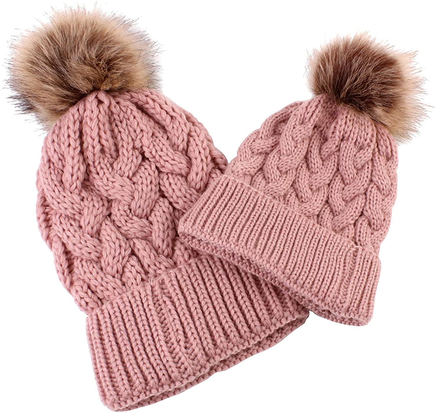 2Pcs Parent-Child Hat Winter Warm Soft Knit Hat Mother Child Baby Family Crochet Beanie Ski Cap for Mother Daughter Son