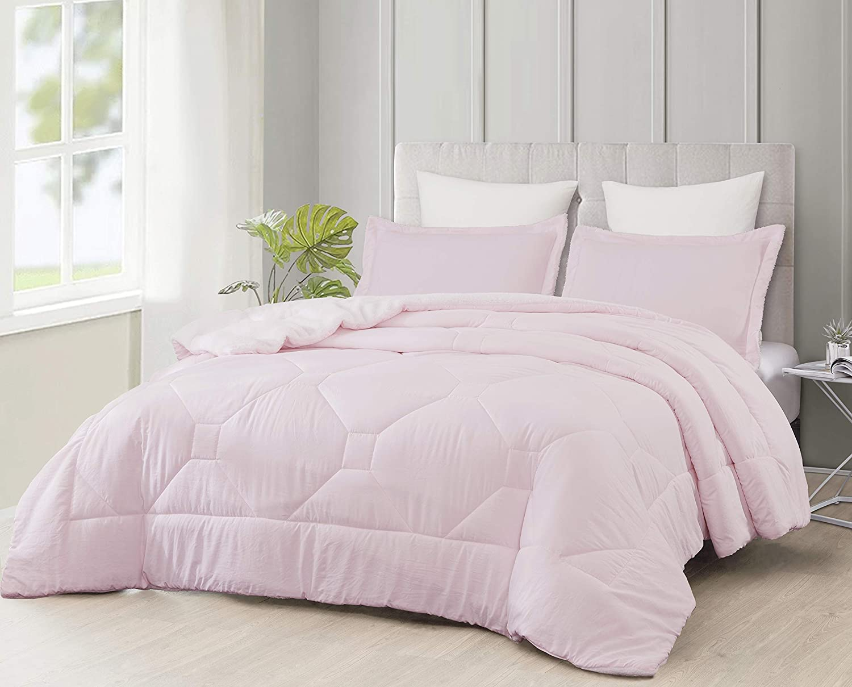 Cozie Nebulous Ultra Soft Micromink Sherpa Down Alternative Comforter Set, Soft Pink, Queen