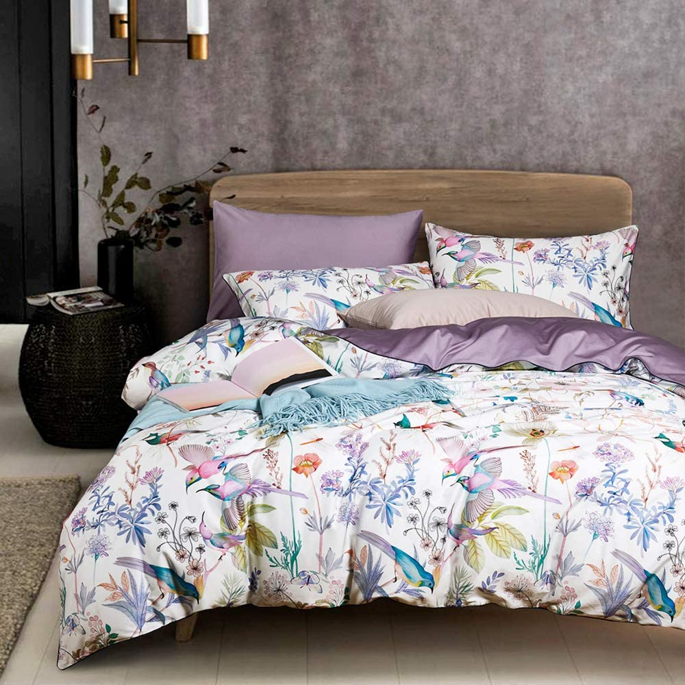 Multi Color King Duvet Cover Set with Floral Bird Printed Pattern,Long Staple Cotton Bedding Set,Lightweight Elegant Silky Duvet Cover for Spring Summer