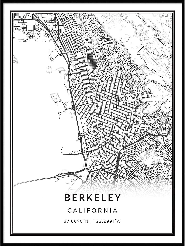 Squareious Berkeley map Poster Print | Modern Black and White Wall Art | Scandinavian Home Decor | California City Prints Artwork | Fine Art Posters 16x20