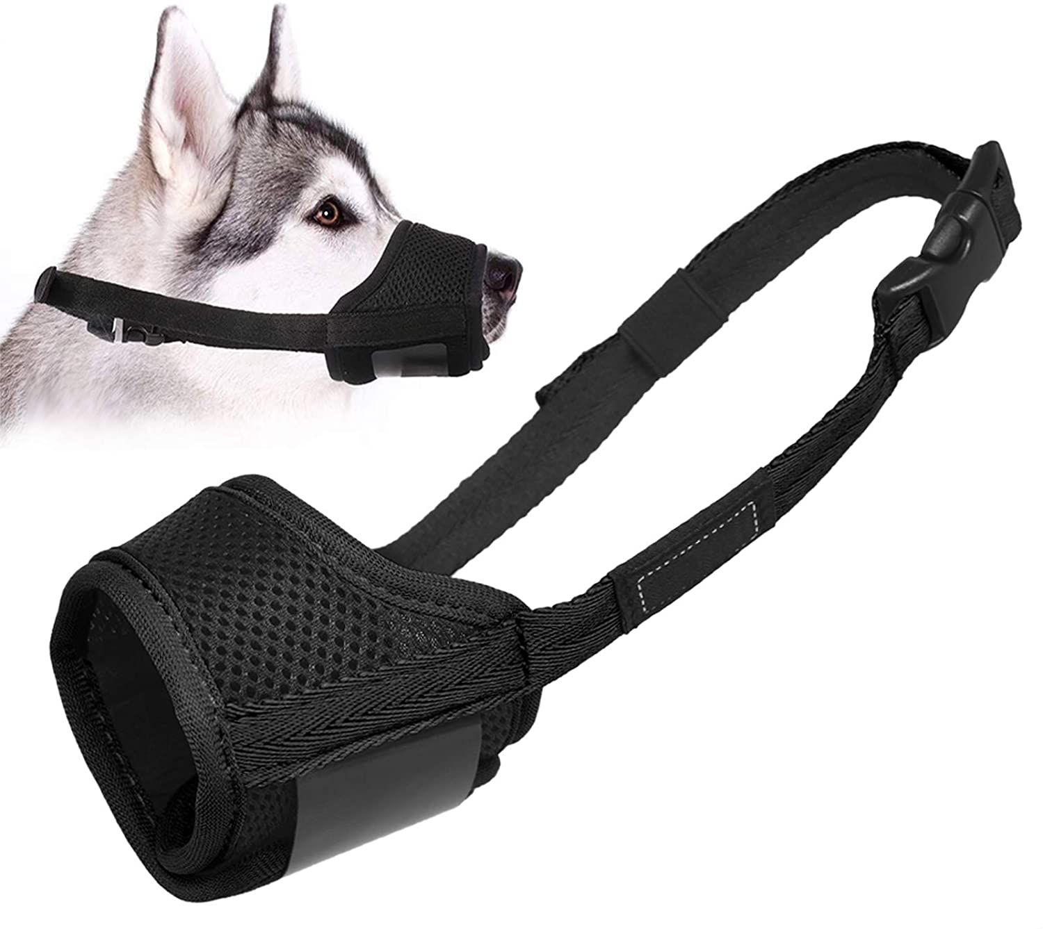 LUCKYPAW Dog Muzzle Anti Biting Barking and Chewing, with Comfortable Mesh Soft Fabric and Adjustable Strap, Suitable for Small, Medium and Large Dogs