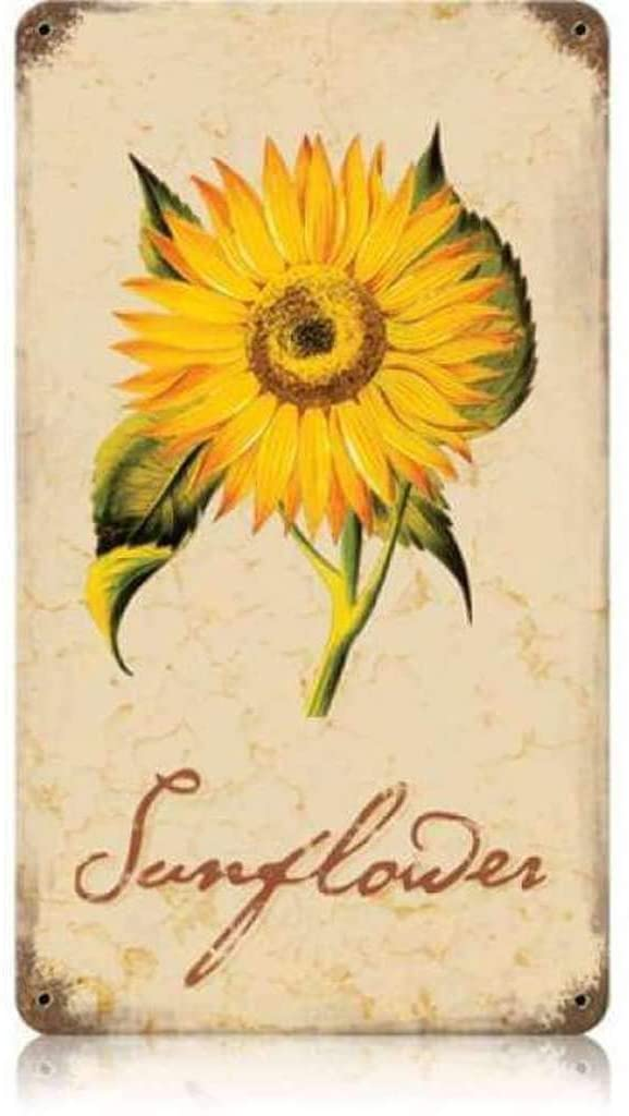 Losea Sunflower Vintage Metal Sign Garage Signs for Home Decor Tin Art Decor, 16 x 12 Inches