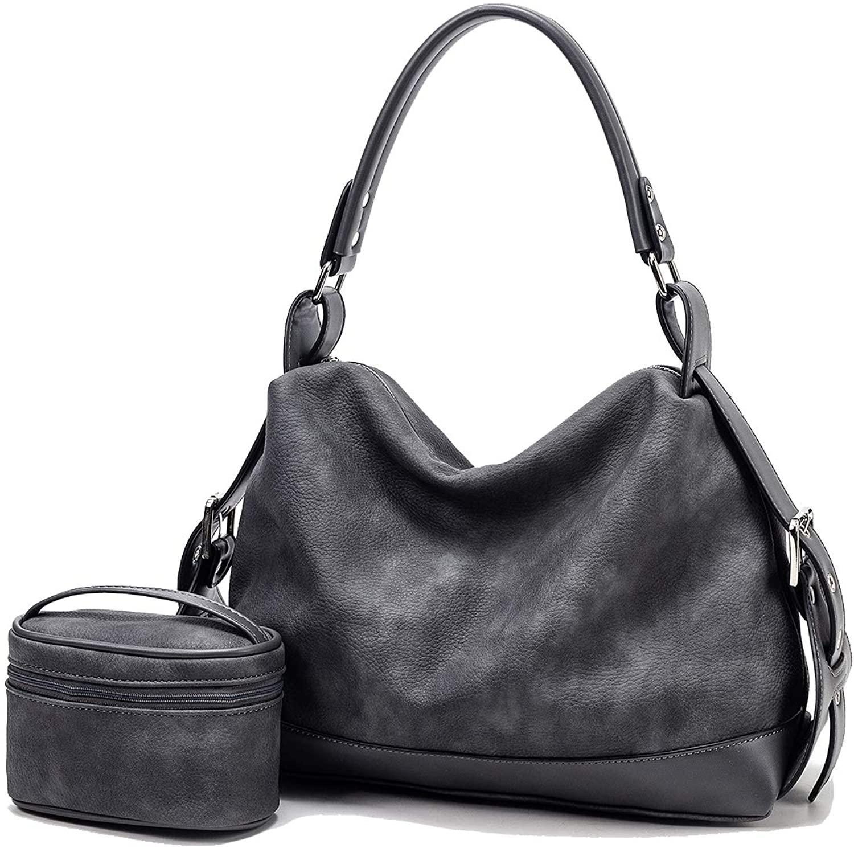 Women Hobo bag Tote Shoulder Handbags Crossbody Bag Top Handle Satchel Purse Soft Faux Leather Set 2pcs