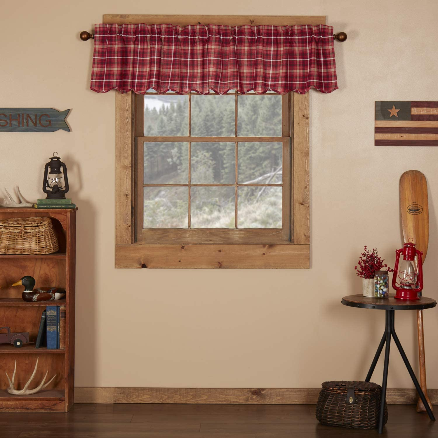 VHC Brands Americana Rustic & Lodge Kitchen Window Curtains - Braxton Red Scalloped Valance, 16x72