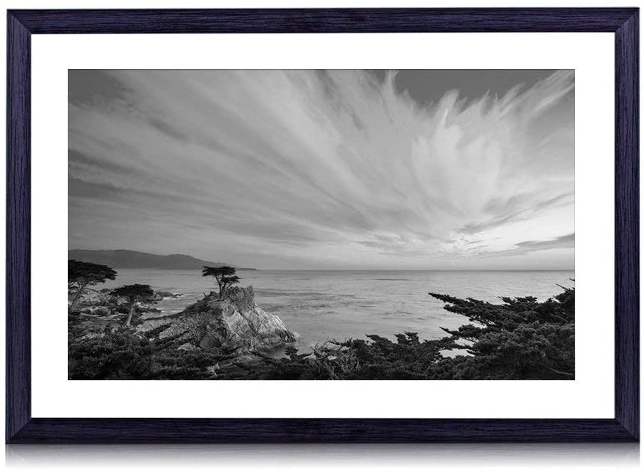 GLITZFAS Art Print Black Wood Framed(Pebble Beach California Sunset Landscape) Wall Art Picture for Home Decoration 24x16 Inches Black and White