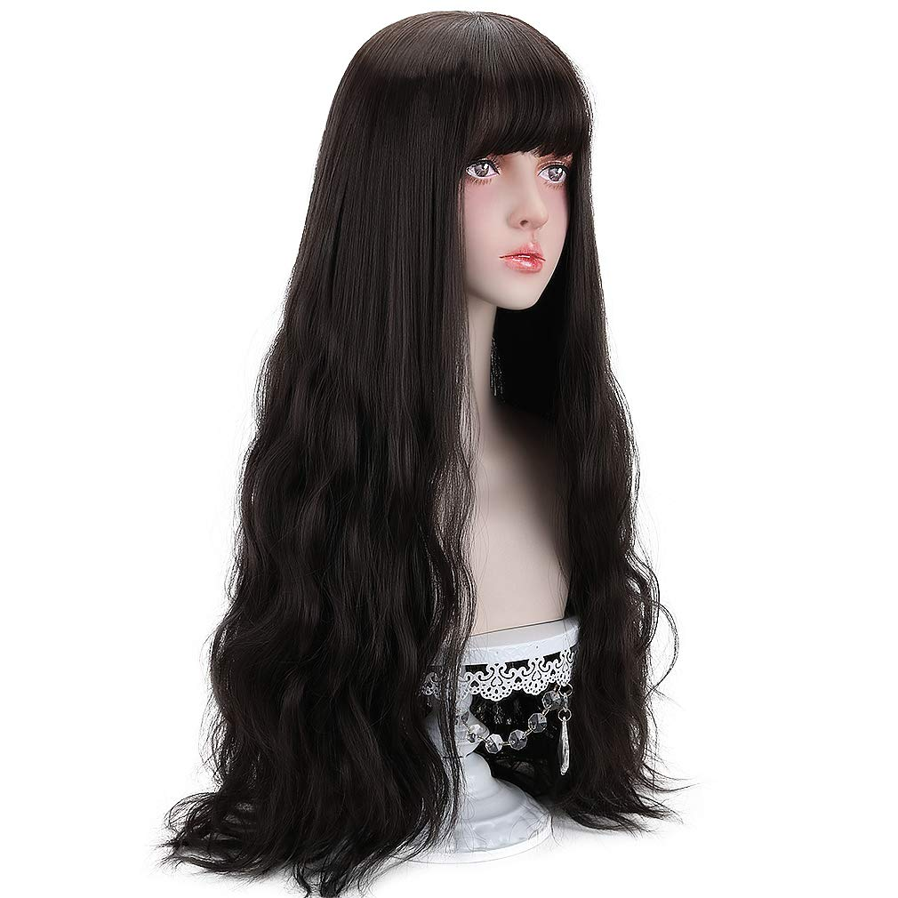 Long Black Synthetic Wigs for Women - Natural Wavy Hair with Wig Cap 23