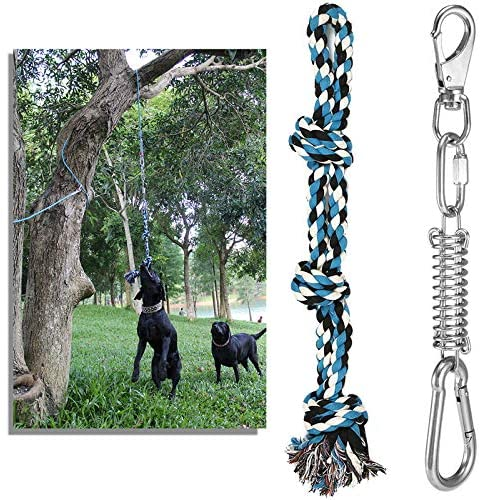 DIBBATU Spring Pole Dog Rope Toys Outdoor Hanging Bungee Toys Interactive Tether Tug of War for Pitbull & Medium to Large Dogs Muscle Builder Exercise & Solo Play Toy