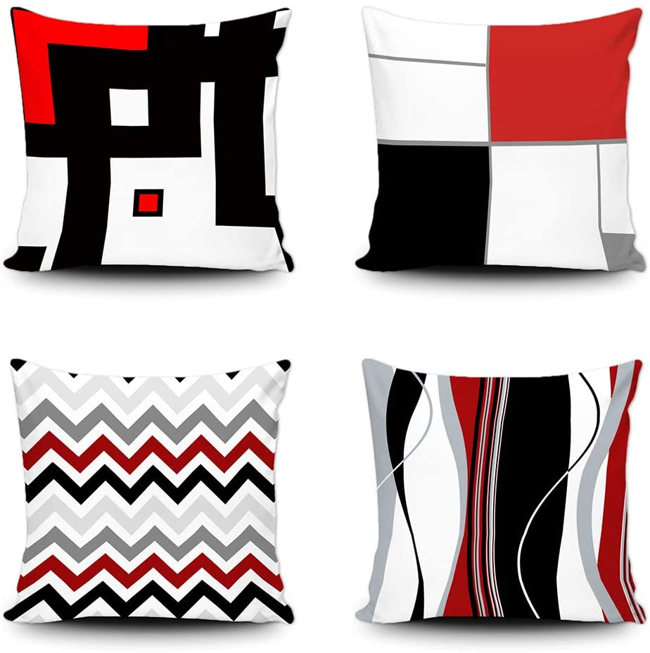 SVITFAMLI Set of 4 Pillow Covers Decorative Modern Geometric Grey Black and Red Grid Stripe Decor Irregular Home Decor Throw Pillow case for Couch Bed 20 x 20 Inches Pillowcase for Sofa Couch