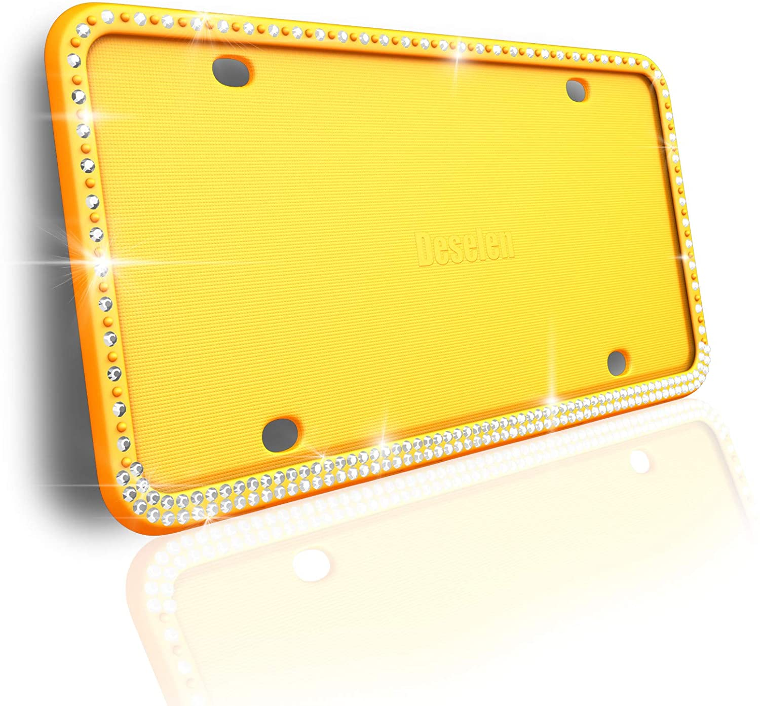 Deselen Sparkling Silicone License Plate Frame, Handcrafted Diamond Styling, Yellow, 1Pack