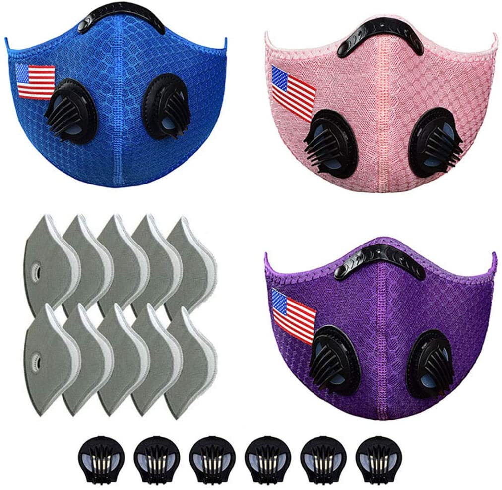 [3PCS cycling protection], [10 activated carbon filters], [6 valves], (blue/pink/purple)
