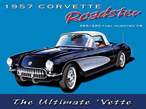 PAGAIXI Vintage Signs Metal Unique Plaques Poster for Bar Shop Garage Indoor 1957 Corvette Roadster Tin Sign 8 x 12 Wall Decor