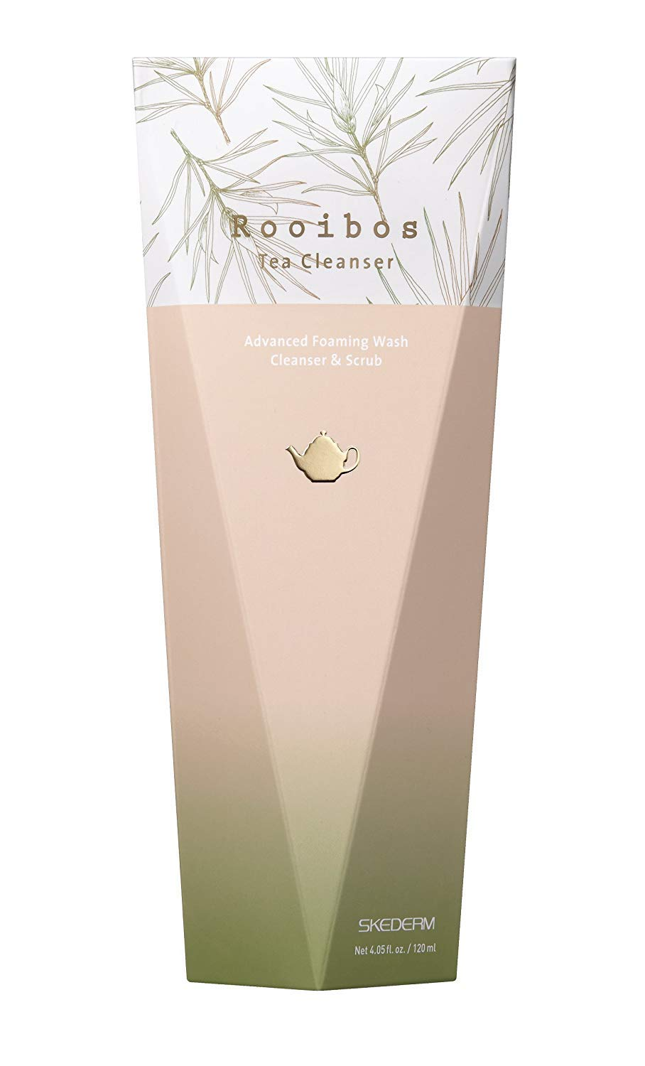 SKEDERM Rooibos Tea Cleanser Gentle Exfoliating Face Wash with Real Rooibos Tea Leaf. 4 fl. oz. / 120ml.
