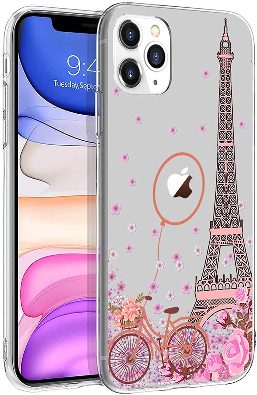 Cocomong Clear Paris Eiffel Tower Cute Phone Case Compatible with iPhone 11 Pro Max Case Paris Cover for iPhone 11 Pro Max Case for Girls Women Pink Floral Paris Decor Gifts, Soft Slim Fit TPU 6.5
