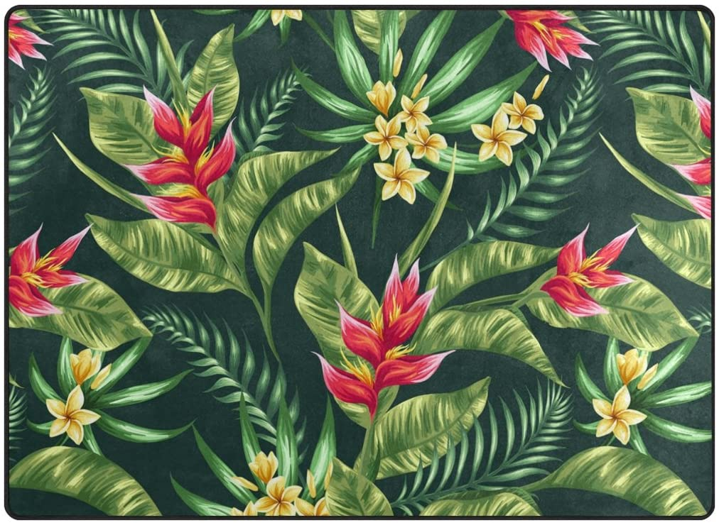 ABLINK Non-Slip Area Rugs Home Decor, Stylish Hawaiian Flowers and Palm Leaves Durable Floor Mat Living Room Bedroom Carpets Doormats 80 x 58 inches