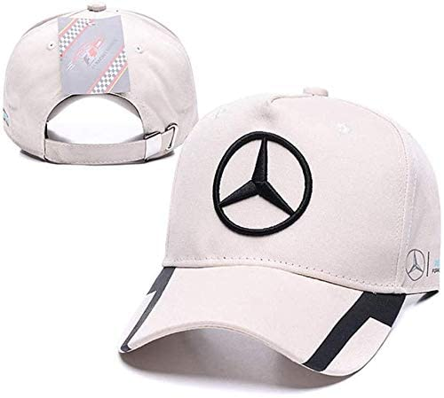 Westion Benz Logo Embroidered Adjustable Baseball Caps for Men and Women Hat Travel Cap Car Racing Motor Hat (fit Benz Rice White)