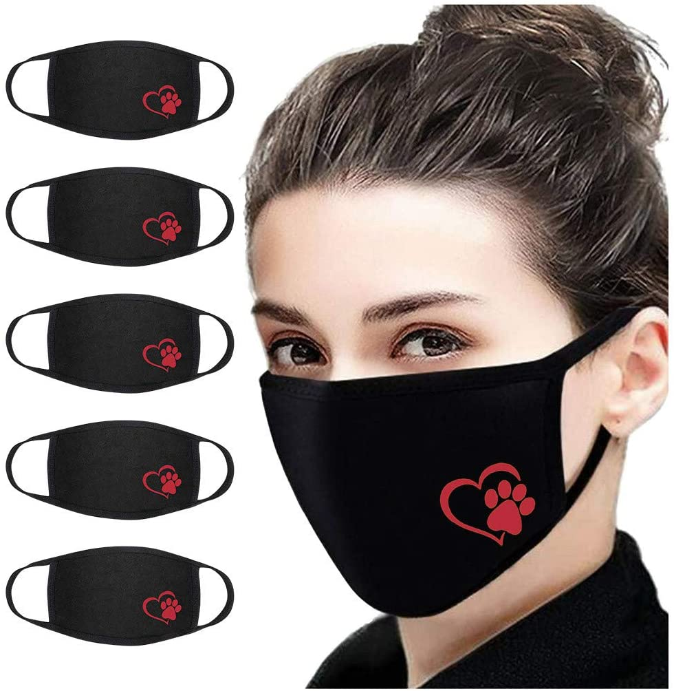 OMGYST 5PC Women Girls Protect_Face_Mask_Cover Solid Color Washable Reusable Cotton Fabric For Kids Adults Outdoor Activity