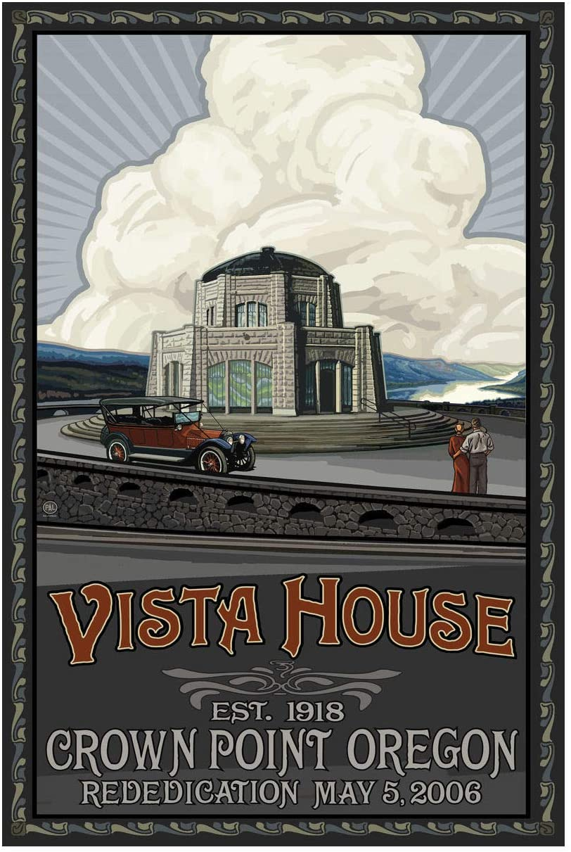 Vista House Oregon Columbia River Gorge Rededication Giclee Art Print Poster from Original Travel Artwork by Artist Paul A. Lanquist 12